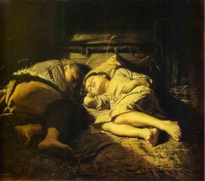 Children Sleeping 1870 | Vasily Perov | oil painting