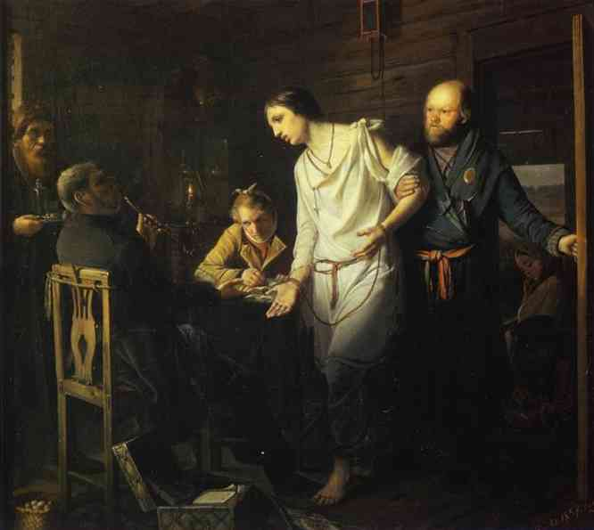 Commissary Of Rural Police Investigating 1857 | Vasily Perov | oil painting