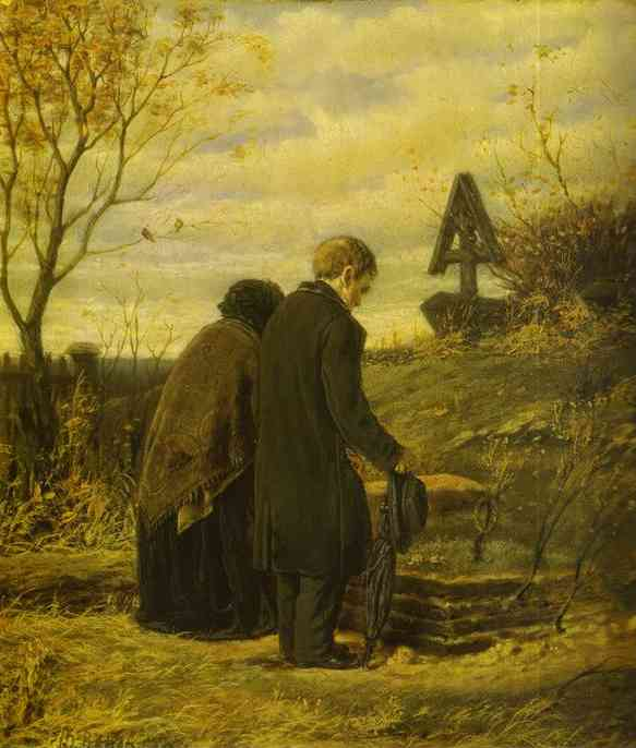 Old Parents Visiting The Grave Of Their Son 1874 | Vasily Perov | oil painting