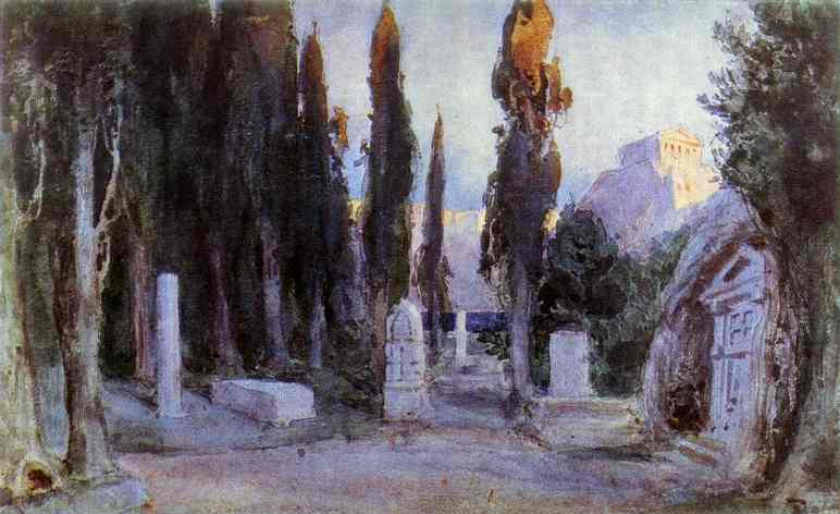 Cemetery Sketch For The Scenery 1897 | Vasily Polenov | oil painting