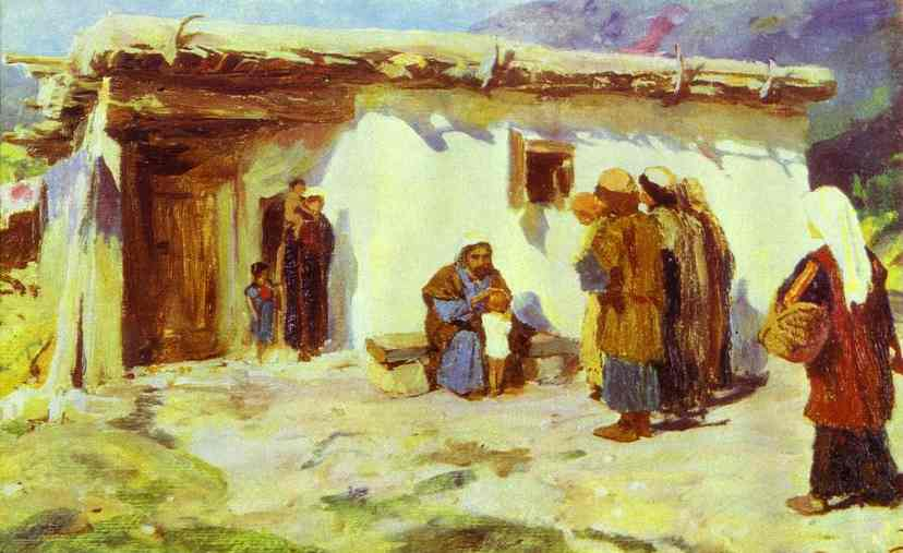 They Brought The Children Study From The Series The Life Of Christ | Vasily Polenov | oil painting