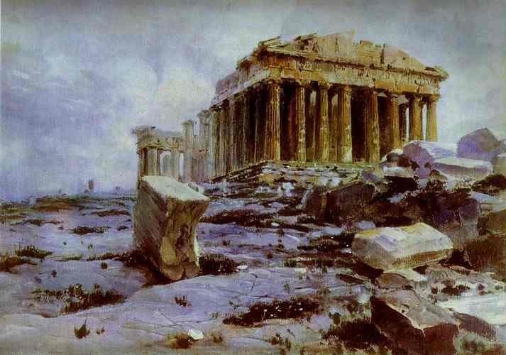 The Parthenon Temple Of Athena Pallas   Vasily Polenov   oil painting