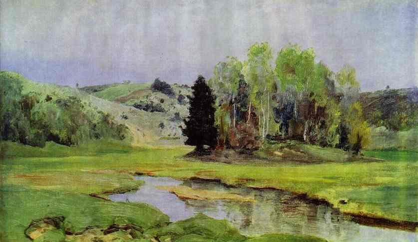 The River Svinka Study 1890s   Vasily Polenov   oil painting