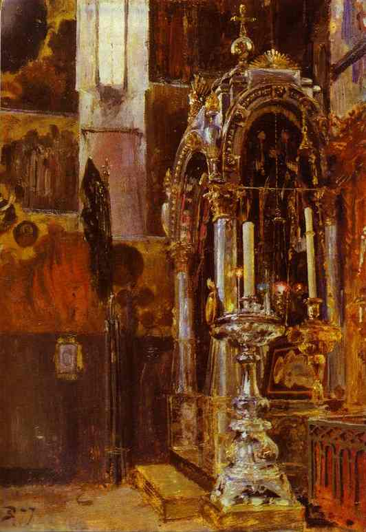 The Shrine Of The Metropolitan Iona In The Uspensky Cathedral 1877 | Vasily Polenov | oil painting