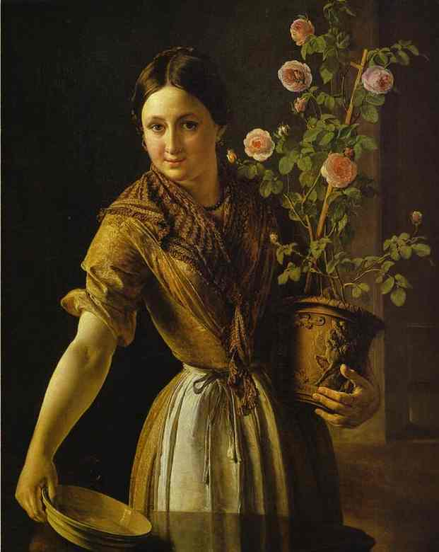 Girl With A Pot Of Roses 1850 | Vasily Tropinin | oil painting