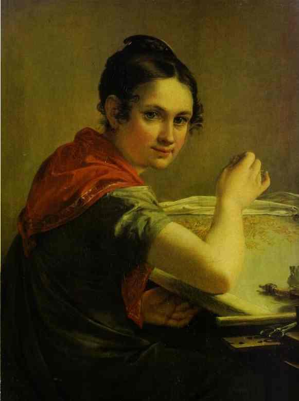Gold Embroideress 1826 | Vasily Tropinin | oil painting