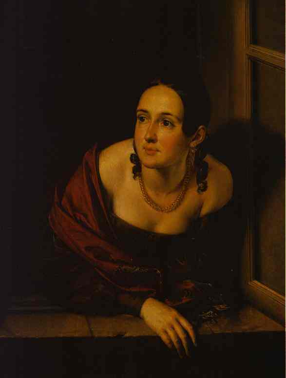 Woman In The Window (Wife Of A Treasurer) 1841 | Vasily Tropinin | oil painting