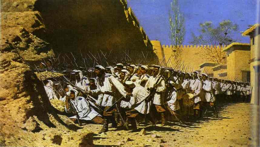 At The Fortress Walls Let Them Enter 1871 | Vasily Vereshchagin | oil painting