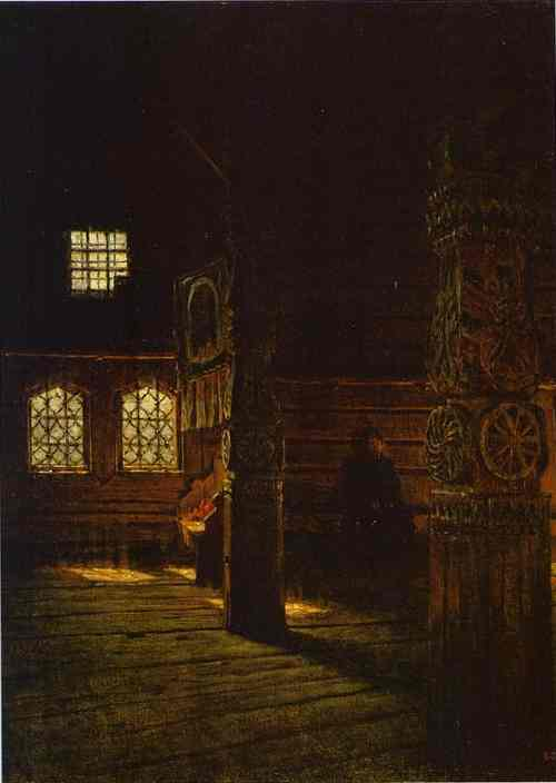 Interior Of The Wooden Church Of St Peter And St Paul In Puchug Study 1894 | Vasily Vereshchagin | oil painting