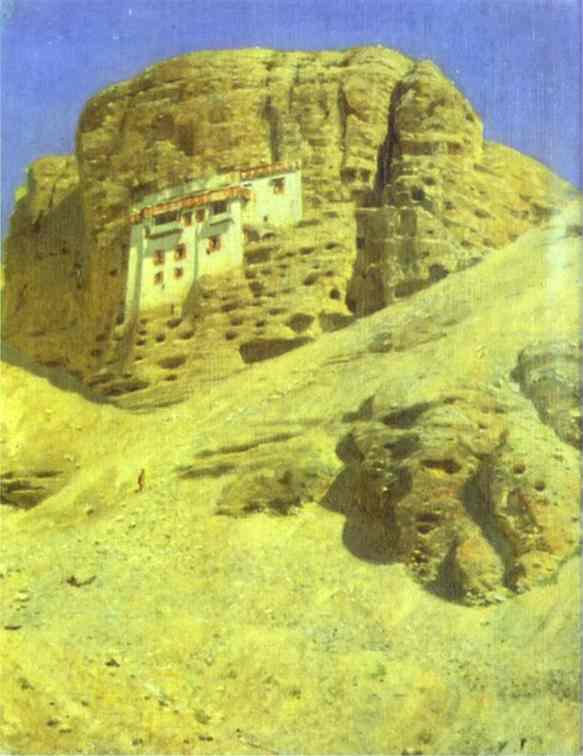 Monastery In A Rock Ladakh 1875 | Vasily Vereshchagin | oil painting