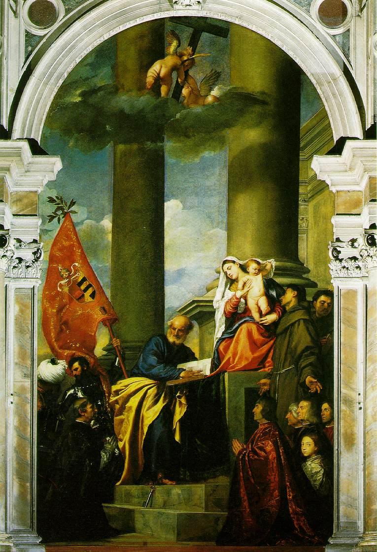 Madonna With Saints And Members Of The Pesaro Family 1519-26 | Vecellio Tiziano | oil painting