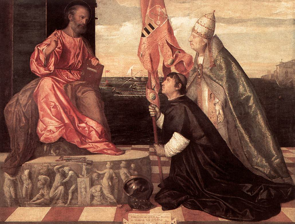 Pope Alexander Iv Ptresenting Jacopo Pesaro To St Peter | Vecellio Tiziano | oil painting