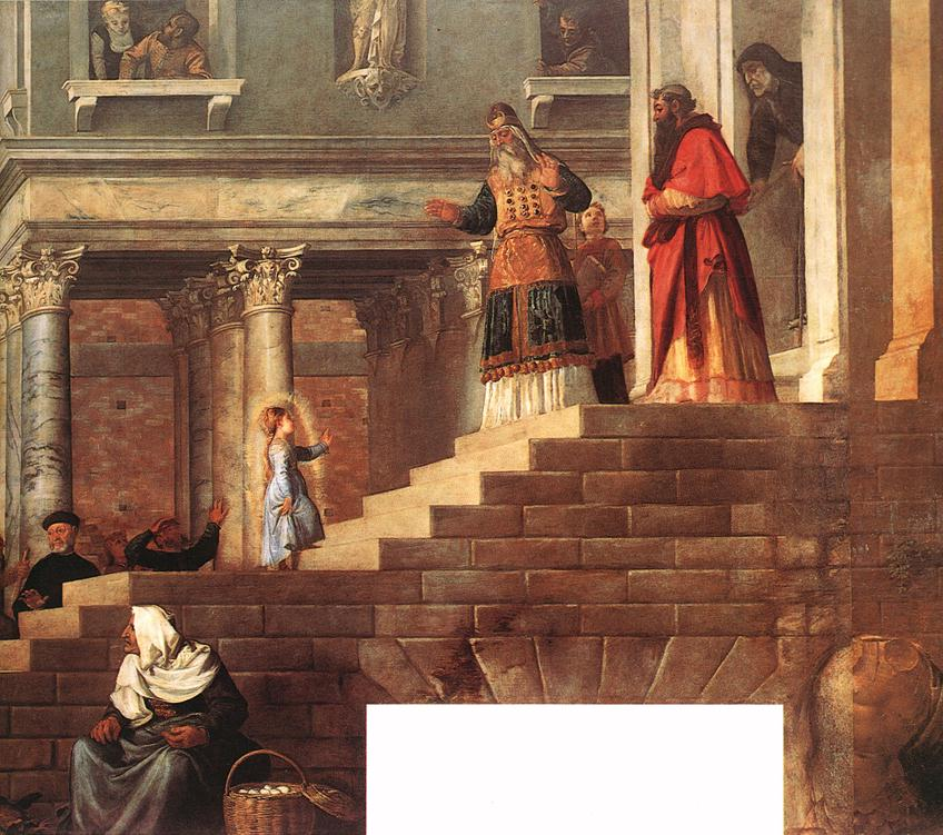 Presentation Of The Virgin At The Temple Detail 1539 | Vecellio Tiziano | oil painting