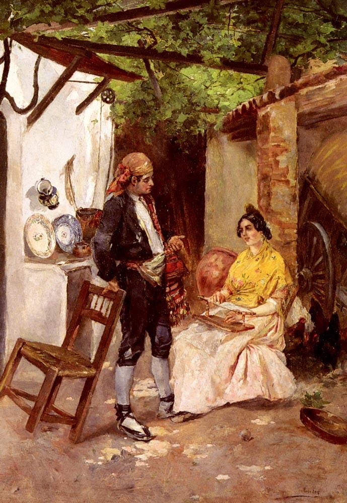 A Flirtation | Vicente De Parades | oil painting
