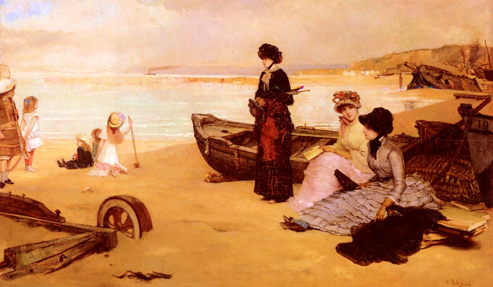 A Summers Afternoon At The Beach | Vicente Palmaroli y Gonzalez | oil painting
