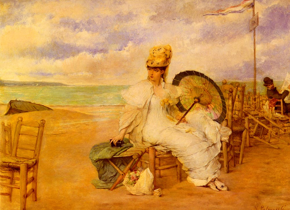 At The Beach | Vicente Palmaroli y Gonzalez | oil painting