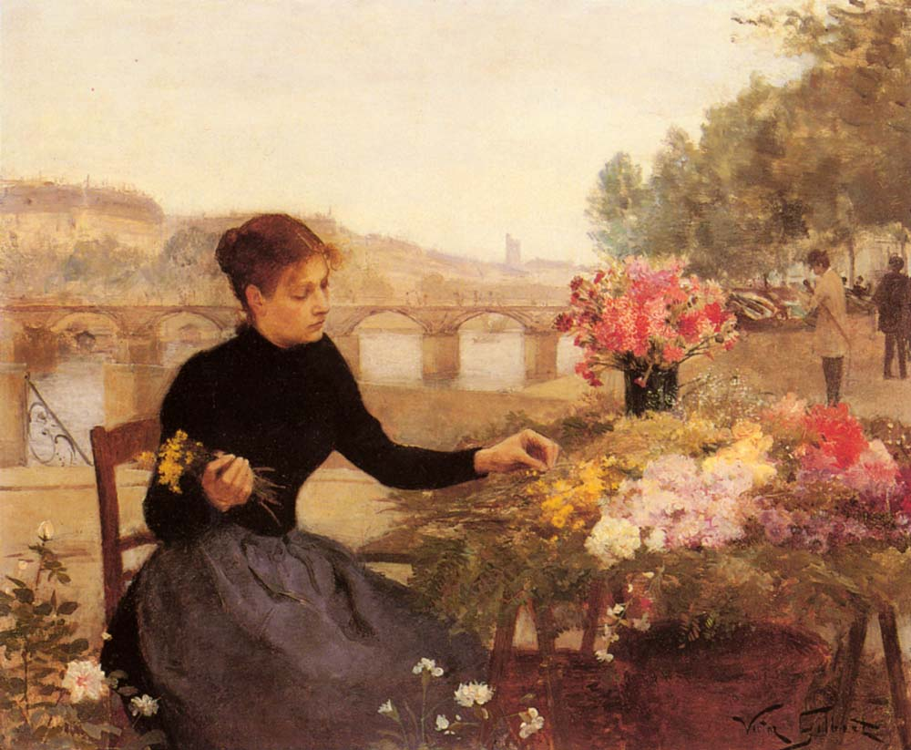 A Parisian Flower Market | Victor Gabriel Gilbert | oil painting