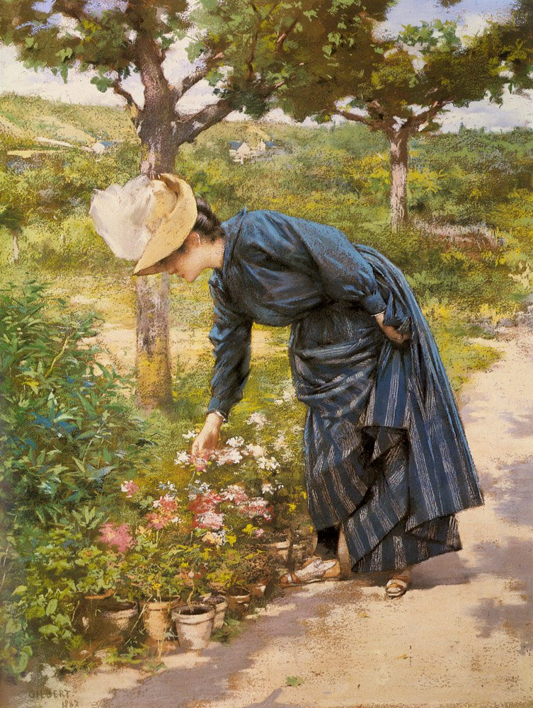 Lady In A Garden | Victor Gabriel Gilbert | oil painting