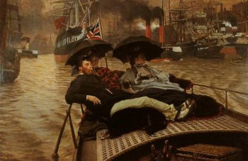 On The Thames | James Tissot | oil painting