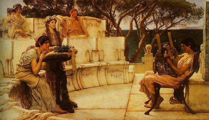 Sappho And Alcaeus | Lawrence Alma-Tadema | oil painting
