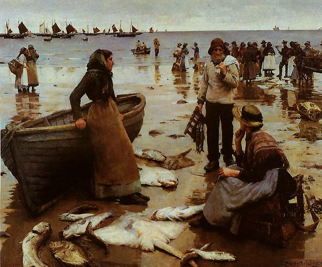 A Fish Sale On A Cornish Beach | Stanhope Forbes | oil painting