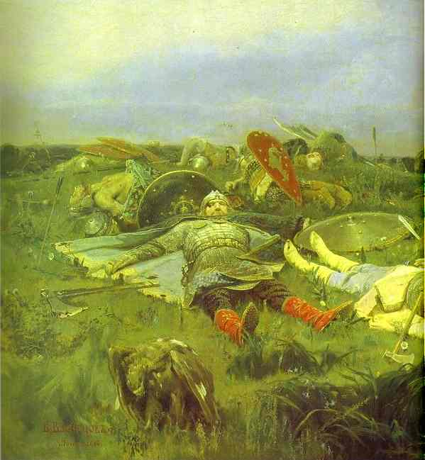 After Prince Igors Battle With The Polovtsy Detail 1880 | Victor Vasnetsov | oil painting