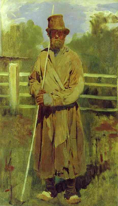 Peasant With A Pole Study 1877 | Victor Vasnetsov | oil painting