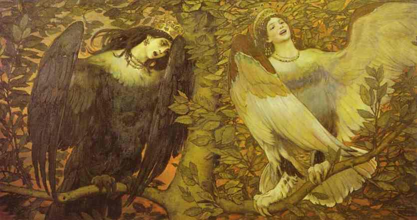 Sirin And Alkonost The Birds Of Joy And Sorrow 1896 | Victor Vasnetsov | oil painting