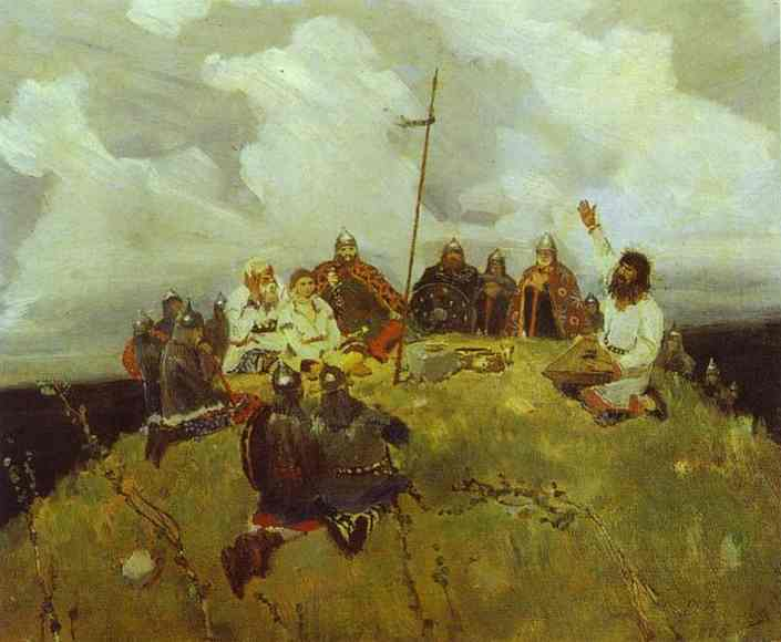 The Bard Bayan Sketch 1880 | Victor Vasnetsov | oil painting