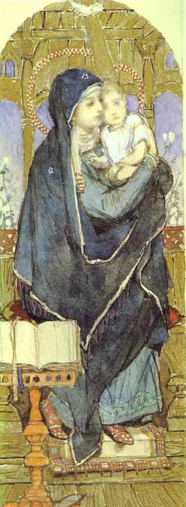 The Virgin And Child Sketch For A Fresco In The Cathedral Of St Vladimir In Kiev 1885-96 | Victor Vasnetsov | oil painting