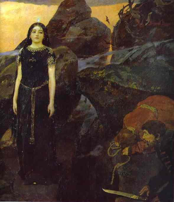 Three Tsarevnas Of The Underground Kingdom Detail 2 1884 | Victor Vasnetsov | oil painting
