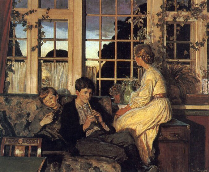 A Mother and Children by a Window at Dusk | Viggo Pederson | oil painting
