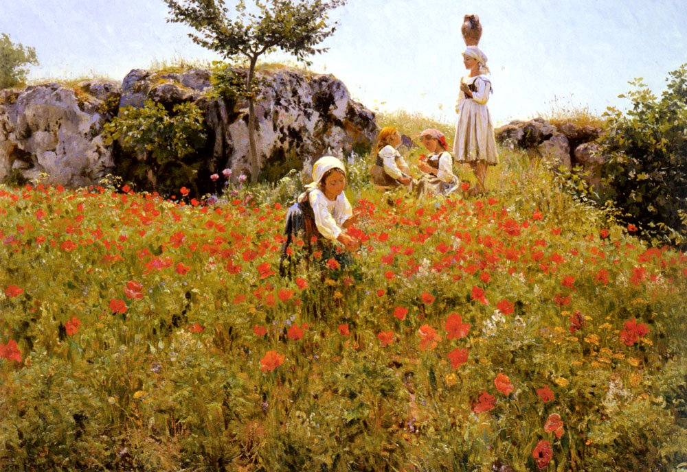 Picking Poppies | Viggo Pederson | oil painting