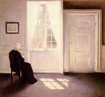 A Woman Reading By A Window | Vilhelm Hammershoi | oil painting