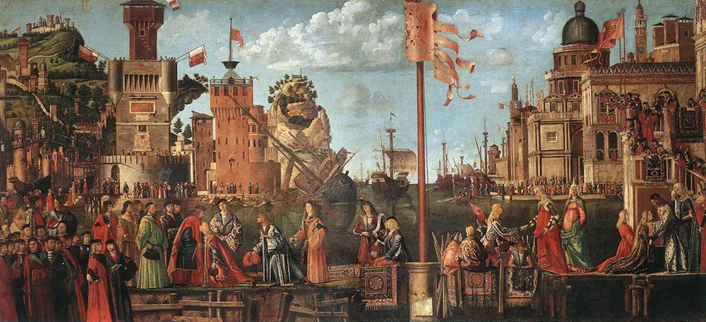 Meeting of the Betrothed Couple and the Departure of the Pilgrims | Vittore Carpaccio | oil painting