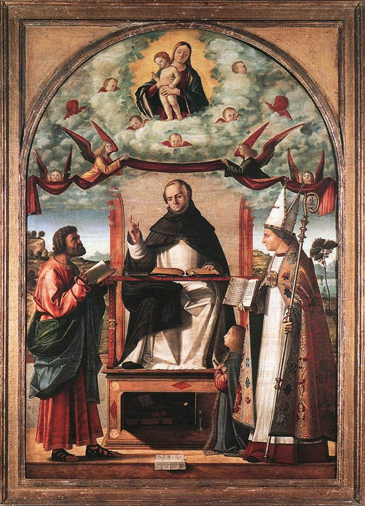 St Thomas in Glory between St Mark and St Louis of Toulouse | Vittore Carpaccio | oil painting