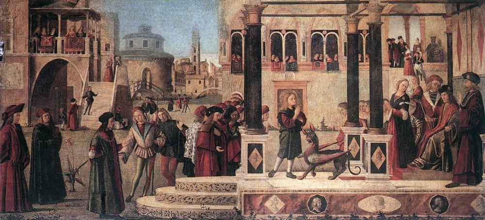 The Daughter of of Emperor Gordian is Exorcised by St Triphus | Vittore Carpaccio | oil painting