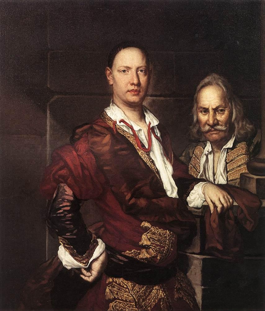 Portrait Of Giovanni Secco Suardo And His Servant 1720s | Vittore Ghislandi | oil painting