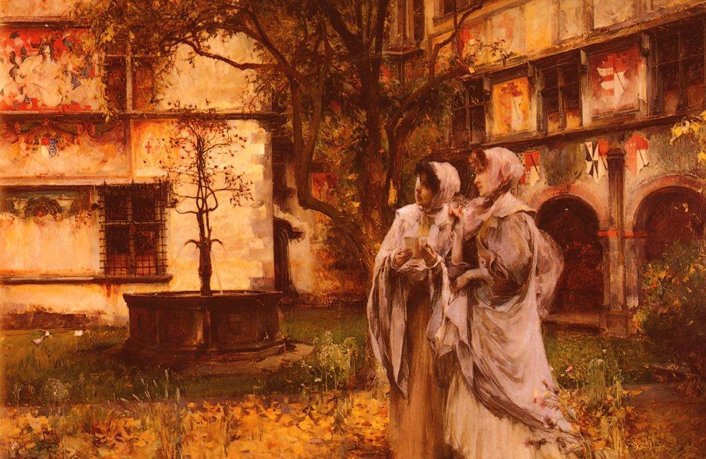 Elegant Travellers In An Italian Cloister | Vittorio Cavalleri | oil painting