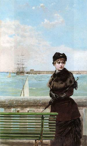 An elegant Woman at St Malo | Vittorio Corcos | oil painting