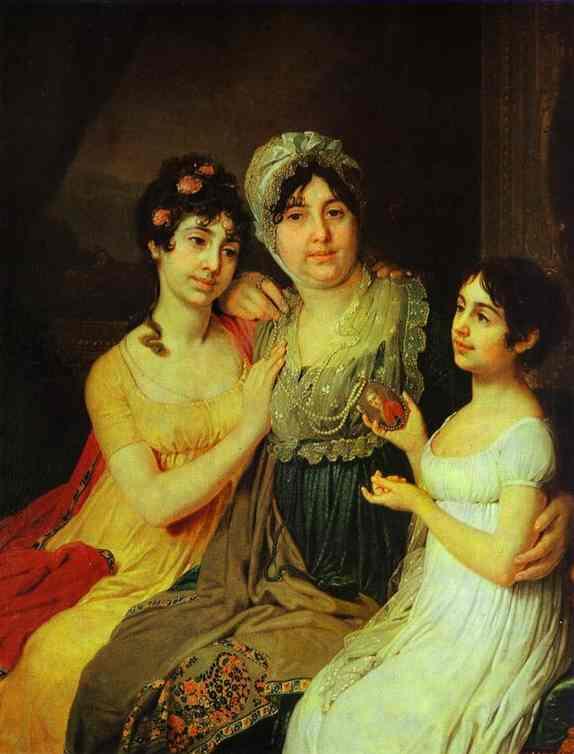 Portrait Of Countess A I Bezborodko With Her Daughters 1803 | Vladimir Borovikovsky | oil painting