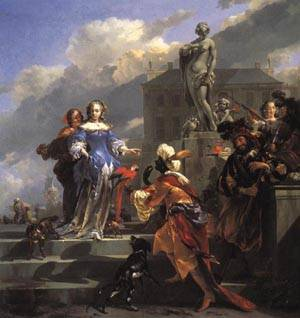 A Moor Presenting a Parrot to a Lady 1660 1670 | Nicolaes Berchem | oil painting