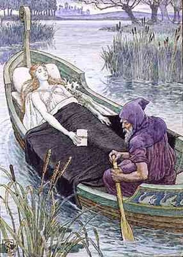 The Death Journey Of The Lily Maid Of Astolat | Walter Crane | oil painting