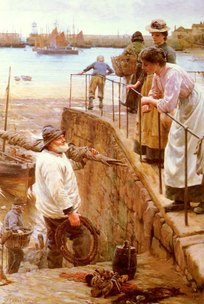 Between The Tides | Walter Langley | oil painting