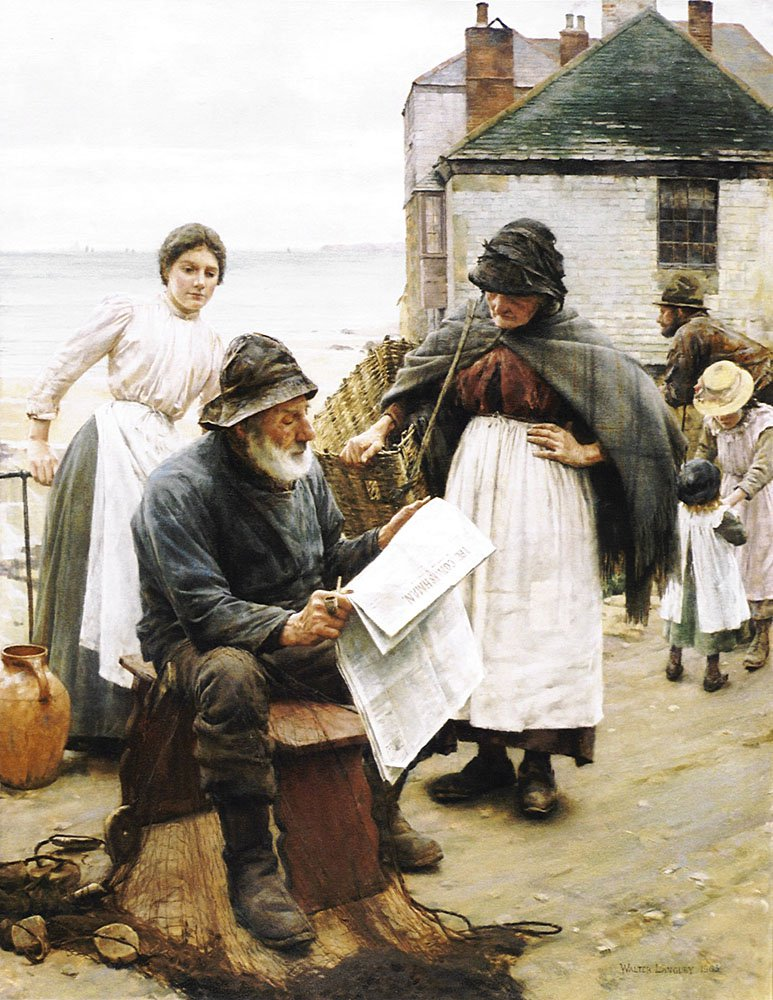 When the Boats are Away | Walter Langley | oil painting