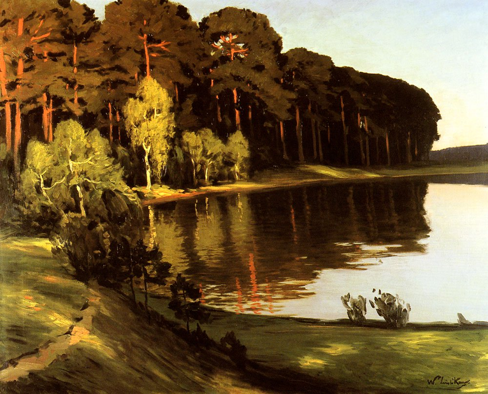 Riverscene with Forest Beyond   Walter Leistikow   oil painting