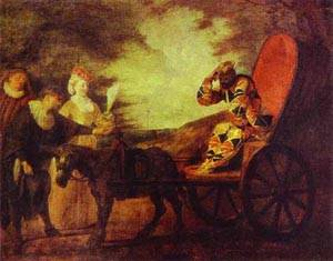 Arlecchino Emperor In The Moon 1708 | Jean Antoine Watteau | oil painting
