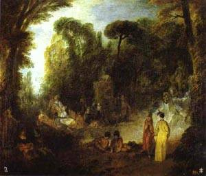 Courtly Gathering In A Park | Jean Antoine Watteau | oil painting
