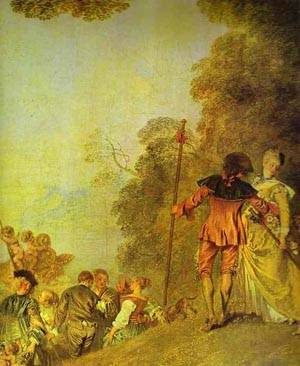 Embarkation For Cythera Detail 2 1718-19 | Jean Antoine Watteau | oil painting