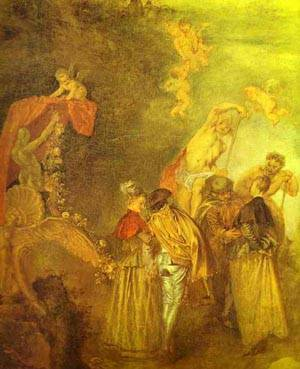 Embarkation For Cythera Or The Pilgrimage To Cythera Detail 1 1717   Jean Antoine Watteau   oil painting